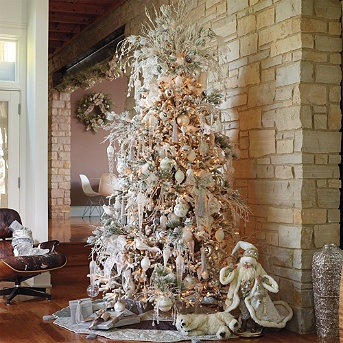 christmas tree decorating idea white and silver
