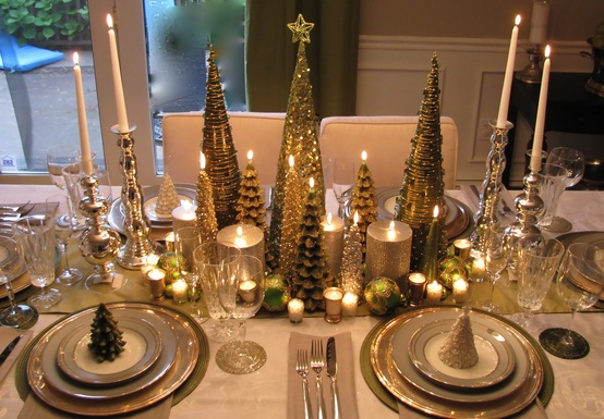 Christmas Centerpiece and Table Setting - Gold Trees and Candles