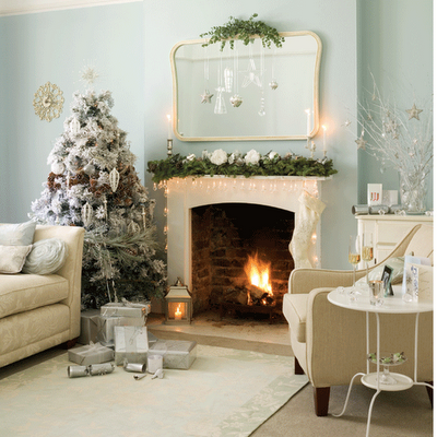 Traditional Living Room Christmas Decor