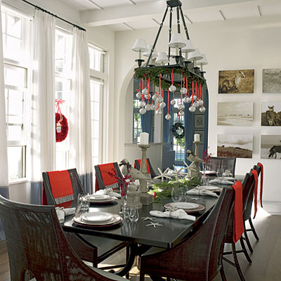 Christmas Dining Room Decor - Red and White