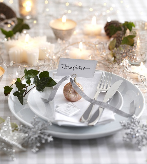 Silver and White Christmas Place Setting