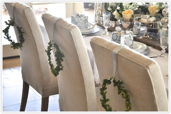 Christmas Table Setting With Chair Wreaths