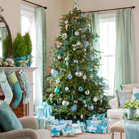 decorated christmas trees 2012 blue green silver