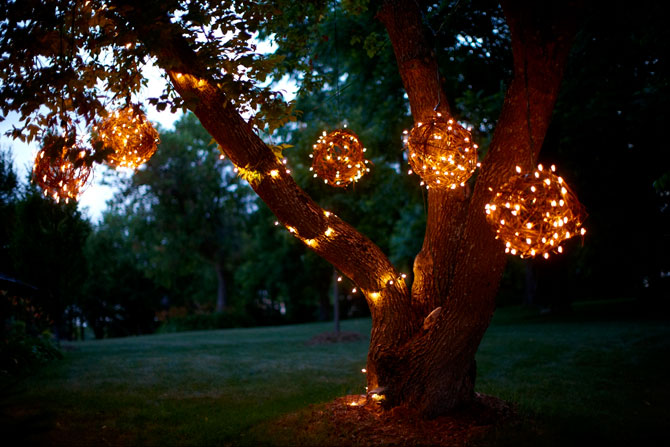 Lighted Grapevine Balls for Outdoor Christmas Decorating