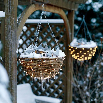 Outside Christmas Decorations - Lighted Hanging Baskets