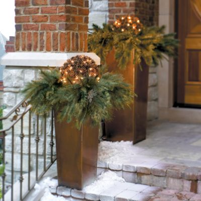 Outside Christmas Decorations - Lighted Balls in Planters