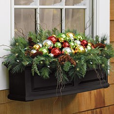 Outside Christmas Decorations: Window Planter With Glass Balls