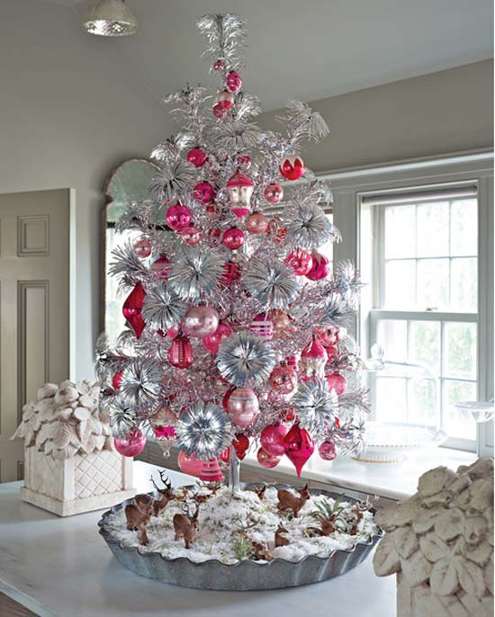 Pink Decorations on White or Silver Christmas Tree