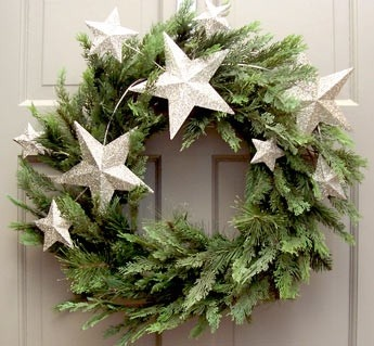 Silver Stars Christmas Wreath