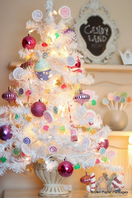 white table top christmas tree pastel decorations