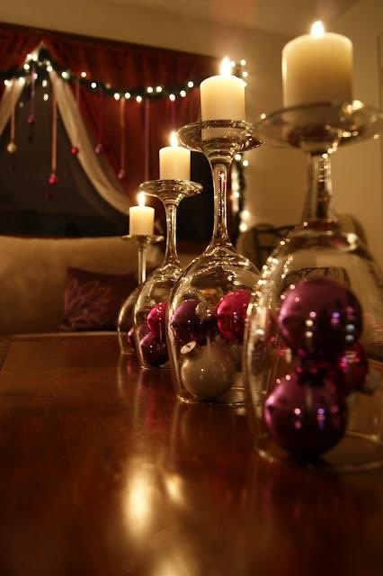 Christmas Decor Ideas - Dining Table with Candles and Ball Ornaments