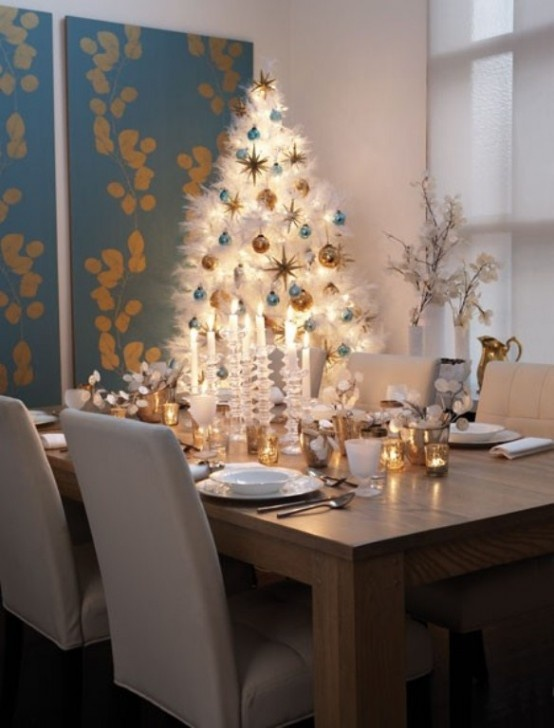 christmas decor ideas dining room with white christmas tree - Modern Christmas Decorating Ideas