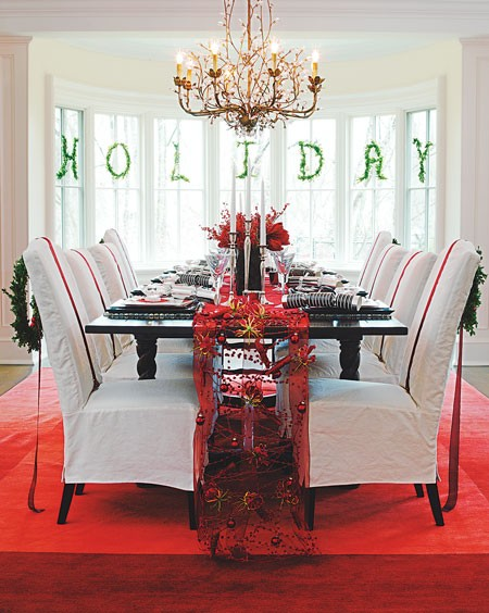 Christmas Window Decorating Ideas - Dining Room