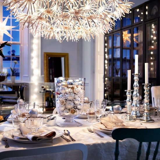 Christmas Table Decorations Idea - Silver