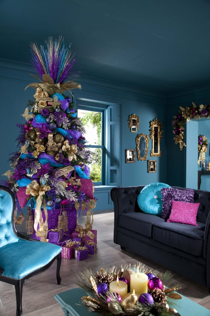 Christmas Tree Decorated in Purple, Blue, and Pink Decorations