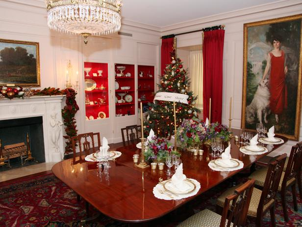 Dining Room at the White House Decorated for Christmas 2012
