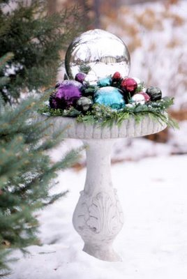 Decorating a Bird Bath for Christmas