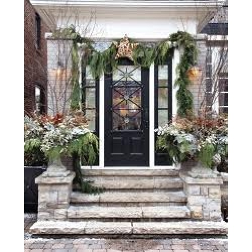 Elegant front entrance outdoor Christmas decor