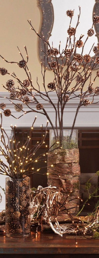Pine Cones, Branches, and Lights - Pretty Chirstmas Decor Idea